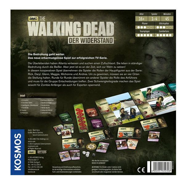der widerstand amc walking dead brettspiel kosmos. Black Bedroom Furniture Sets. Home Design Ideas
